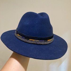 Anthropologie blue felt rancher hat w/ ribbon trim